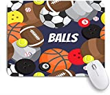 HASENCIV Alfombrilla de Ratón,balones fútbol Voleibol Baloncesto,Alfombrilla de ratón Gaming,Base de Goma Antideslizante,Mouse Pad para Oficina 24 x 20 cm