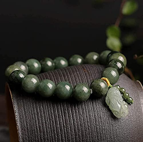 Pulsera Feng Shui Bead Feng shui jade pixiu piyao amuleto pulsera 7a fei-cui jade bosque verde estiramiento brazalete 10 mm chakra curación piedras preciosas atraer riqueza suerte protección unisex Pu