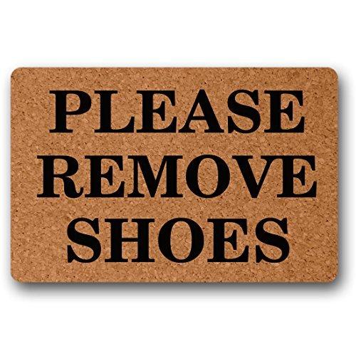 Norma Lily Bitte Schuhe entfernen Funny Fußmatte Welcome Fußmatte Langlebige Waschmaschine Gewaschen Indoor-/Outdoor 23,6(L) X 15,7(W) Zoll