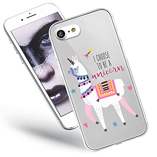 QULT Handyhülle kompatibel mit iPhone SE 2020, iPhone 7/8 Hülle durchsichtig mit Motiv Silikon transparent Slim dünn Bumper Schutzhülle Hülle Lama Einhorn