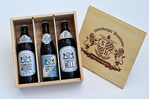 3 teilige Geschenkbox mit bayerischen Bierspezialitäten vom Starnberger Brauhaus in der Flasche