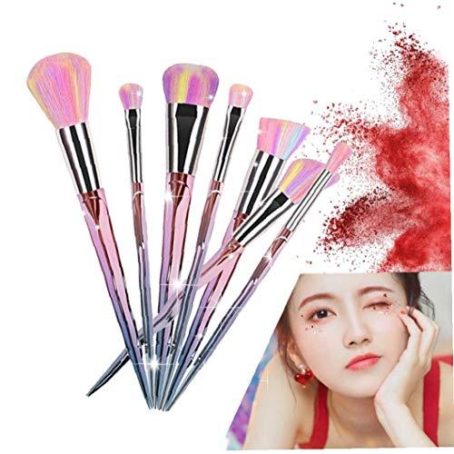 7PCS Unicorn Makeup Brushes With Colorful Bristles Diamond Shaped Handles Fantasy Makeup Tools Foundation Eyeshadow Brush Kit Cosmetic Beauty Gift For Girls