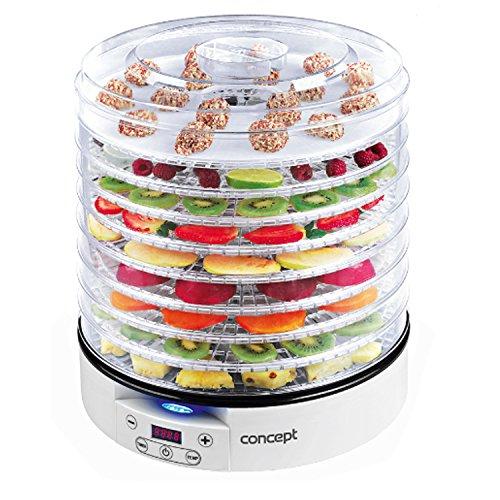 Concept SO2020 Dörrautomat Raw Food 500 W, LCD-Display, 2 x Tabletts Raw, Thermostat Variable 35 – 70 °C, Timer Digital, 9 Tabletts weiß, 500