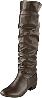 Goldweather Women Knee High Boots Ladies Winter Round Toe High Tube Flat Heels Riding Boots
