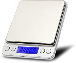 Digital Kitchen Pocket Scale 2000g/0.01g High Precision Portable Food Jewelry Drug Scale with Platform LCD Display Tare and PCS Features Back-Lit LCD