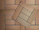 Klicken Baldosa WPC Composite Base plástica para Decks compuestos fáciles de Instalar en Patios, Balcones, azoteas y áreas de Jacuzzi al Aire Libre (1 sqm, Teca)