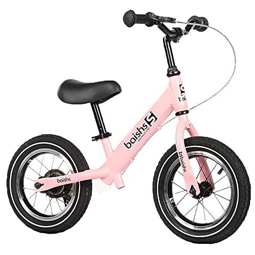 ASDF Balance Bikes Bicicleta de Equilibrio Rosa para niños de 2 años, Bicicleta para niños pequeños de 12 Pulgadas con Frenos, Bicicleta de Equilibrio para niños/niñas Regalos de cumpleaños