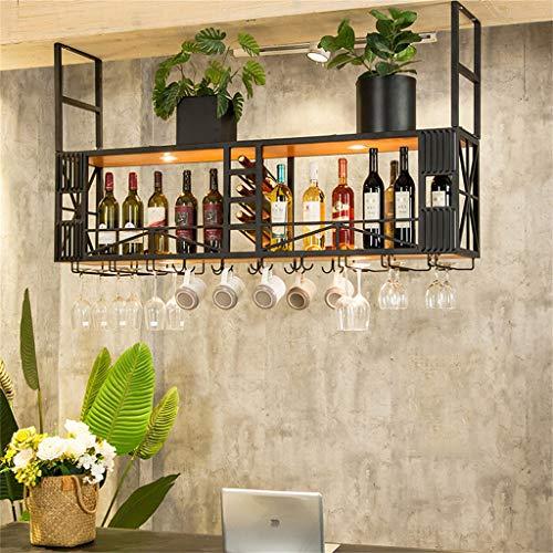 Bar tradicional Dispensador de vino Colgante montado en el techo Sostenedor de botella de vino Organizador de botellas multifunción y almacenamiento de vajilla para bar de cocina Pub Botelleros