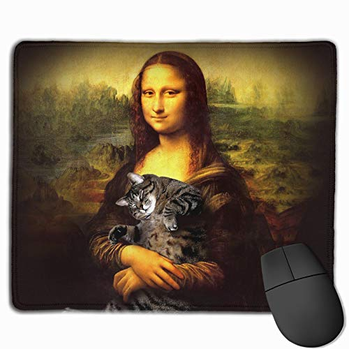 Mouse Pad Anti-Slip Mousepad Mona Lisa Fat Crazy cat Gaming Mouse Mat Pads with Stitched Edge Cute Funny Personalized Novel for Working Game Office Study PC Computers