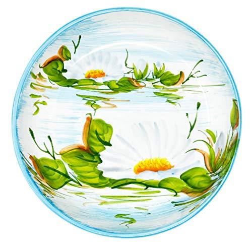 Lashuma Servierschale Groß, Handgefertigte Obstschüssel Ø 28 cm, Runde Keramikschüssel Flach, Schalen Design: Seerose