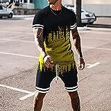 Sets De Ropa Deportiva Casual Para Hombre Juegos De Chándal De Verano Hombres Camiseta De Manga Corta 2 Pieza + Pantalones Cortos Secado Rápido Corta Conjunto De Ropa Deportiva Masculino,7,3XL