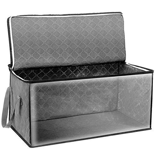 4YANG Large Capacity Clothes Storage Bag Foldable Breathable Closet Organizer with Reinforced Handle Firm Fabric Strong stitching Storage Container for Clothes, Quilts, Blankets, Bedding, Grey, Blue