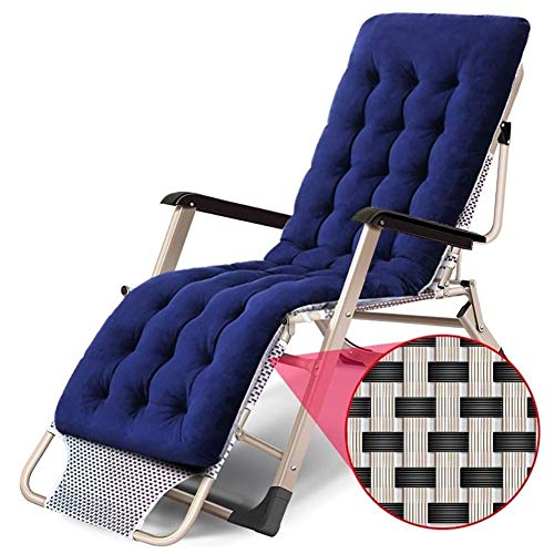 H.aetn Deckchair Folding Bed Single, Metal Frame Portable Adjustable Backrest Recliner Home Garden Sun Lounger Office Siesta Sofa Bed Sun Lounger (Color : With Pad)
