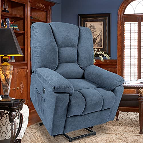 oneinmil Linen Recliners for Elderly, Electric Power Lift Recliner Chair, Home Sofa Chairs with Heat & Massage, Remote Control, 3 Positions, 2 Side Pockets and USB Ports, Blue Grey