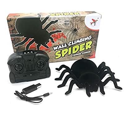 Junlinto,Remote Control Spider Scary Wolf Spider Robot Realistic Novelty Toys