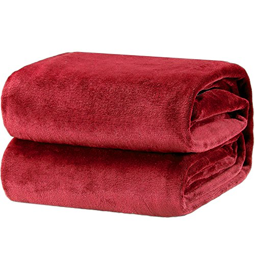 Bedsure Fleece Blanket Throw Size Burgundy Lightweight Super Soft Cozy Luxury Burgundy Blankets Microfiber