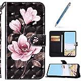 URFEDA Kompatibel mit Nokia 7.2 Handyhülle Handytasche Leder Flip Case Brieftasche,Glitzer 3D Bunt Gemalt Muster Schutzhülle Magnetisch Kartenfach Ständer Klapphülle Tasche, Rosa Blume