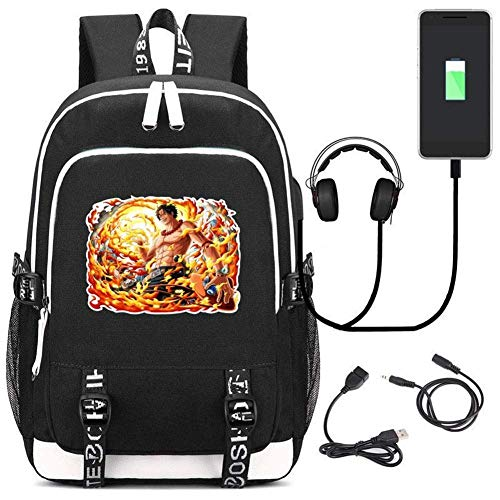AmityL ポートを充電USB付きワンピースの学生のノートパソコンのバックパックスクールバッグユニセックスレジャー旅行バックパック (Color : Black)