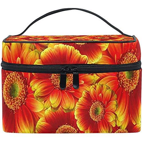 Sacs de Maquillage de Voyage avec Fermeture à glissière Golden Sunflowers Cosmetic Bag Toiletry Bags Portable Multifunction Case