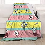 "Homchomp Sponge-bob Blanket Bob Sponge Square-Pants Throw Blanket Kids Bedding, Flannel Fleece Blanket Cute Cozy Plush Warm Soft to My Son Daughter Gift for Kids Twin Size 60""x50"""
