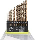 Hymnorq Metric M35 Cobalt Steel Extremely Heat Resistant Twist Drill Bits with Straight Shank Set of 13pcs to Cut Through Hard Metals Such as Stainless Steel and Cast Iron