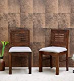 Natraj Exports Sheesham Wood Dining Chairs | 2 Wooden Dinning Chairs | Dining Room Furniture | with White Cushions
