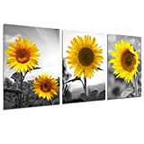 Sunflower Wall Art Canvas Painting - Nature Posters Sunshine Yellow Flower Landscape Picture Prints Bedroom Bathroom Living Room Country Wall Decor Home Office Decoration 12x16 inch UNFRAMED
