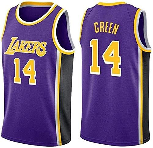 CXJ Jerseys De Los Hombres, Los Angeles Lakers # 14 Danny Green Jerseys del Baloncesto, Fresco Y Transpirable Tejido Alero del Chaleco Sin Mangas Top,B,S(165~170CM/50~65KG)