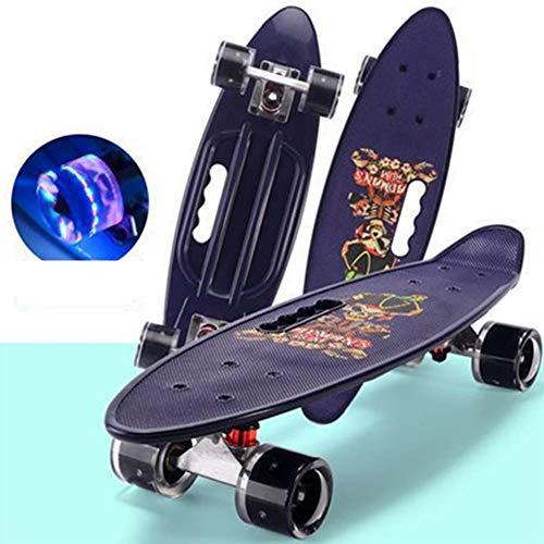 HQL Monopatín Completo de 24'para Principiantes, monopatines Mini Cruiser, Tabla de Patinaje portátil portátil, para Deportes Extremos y al Aire Libre,Gris