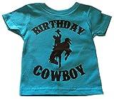 Custom Kingdom Boys Birthday Cowboy T-Shirt (18/20 XL, Teal Blue)