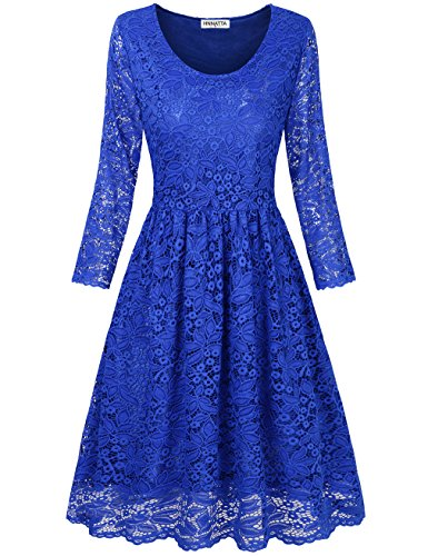 HNNATTA Women's Elegant Floral Lace Long Sleeve Fit and Flare Cocktail Party Dress