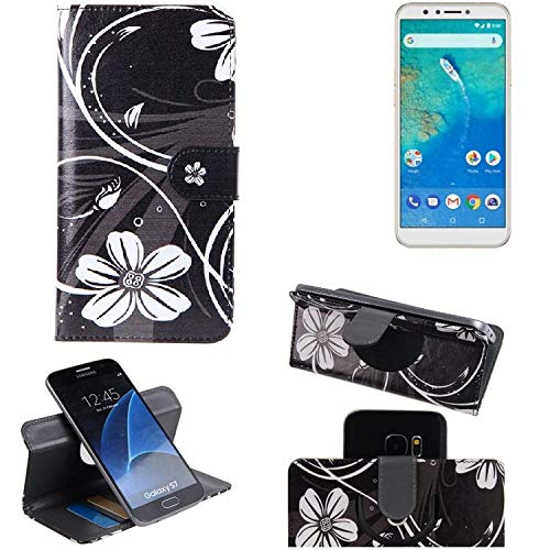 K-S-Trade® Schutzhülle Für General Mobile GM 8 Hülle 360° Wallet Case Schutz Hülle ''Flowers'' Smartphone Flip Cover Flipstyle Tasche Handyhülle Schwarz-weiß 1x