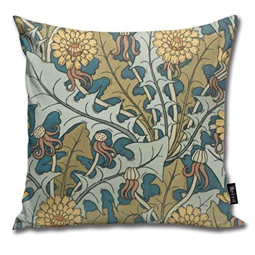 tyui7 Kissenbezug Jugendstil-Löwenzahn-Muster Decor Throw Cushion Covers für Sofa und Couch 45x45...