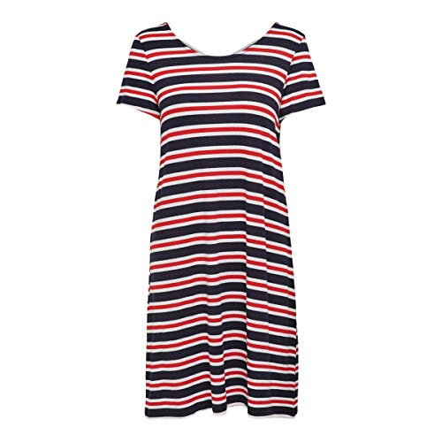 Only Onlbera Back Lace Up S/s Dress Jrs Noos Vestito, Multicolore (Cloud Dancer Stripes: Red And Blue Stripes), 46 (Taglia Produttore: Large) Donna