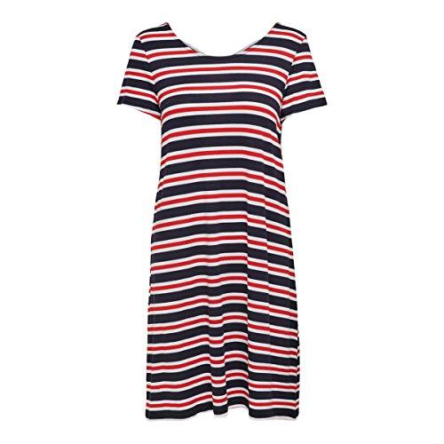 ONLY Damen Onlbera Back Lace Up S/S Dress JRS Noos Kleid, Mehrfarbig (Cloud Dancer Stripes: Red and Blue Stripes), 38 (Herstellergröße: M)