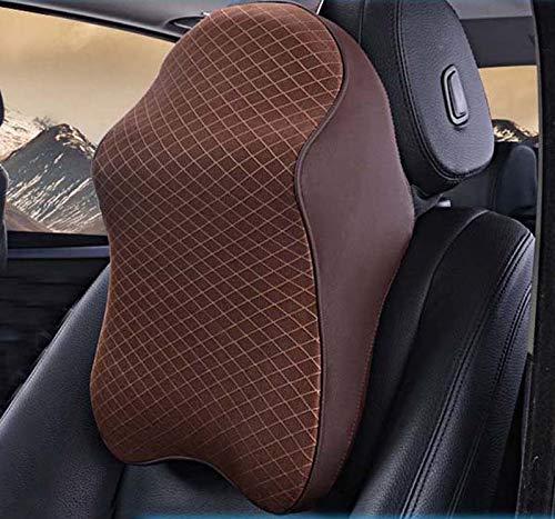 3D-Nackenkissen aus Memory-Schaum, verstellbar, Kopfstütze, Auto-Kopfstütze, Reisekissen, Nackenstütze, Halter, Sitzbezüge (braun)