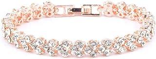 Roman Crystal Bracelet Simple Diamond Bracelet for Women and Girls - Gold