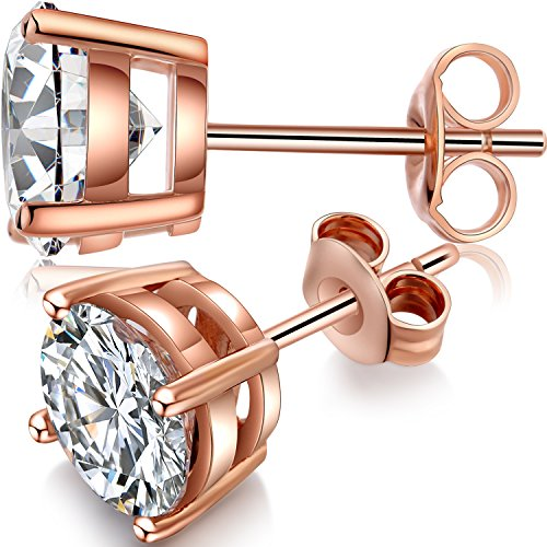 Rose Gold Earring Studs Women Rose Gold Studs 8mm Rose Gold Cubic Zirconia Earrings Fashion Rose Gold Post Earrings,Rose Gold Fake Diamond Earrings Nickel Free Hypoallergenic Sterling Silver Studs 8mm