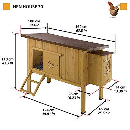 Ferplast 57096000 Hühnerstall HEN HOUSE 30, für bis zu 6 Hennen, Holzkonstruktion, Maße: 162 x 100 x 110 cm - 3
