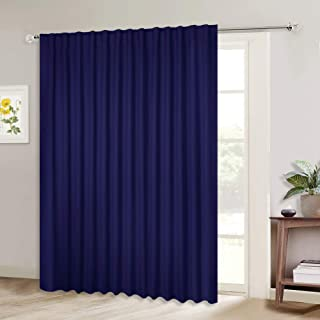 NICETOWN Blackout Curtain for Sliding Door, Patio Door Curtains, Thermal Insulated Wide Drapes/Draperies for Bedroom (Dark Blue, 100 by 84-inches, Sold Individually)