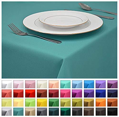 Rollmayer Tischdecke Tischtuch Tischläufer Tischwäsche Gastronomie Kollektion Vivid (Türkis 17, 80x80cm) Uni einfarbig pflegeleicht waschbar 40 Farben