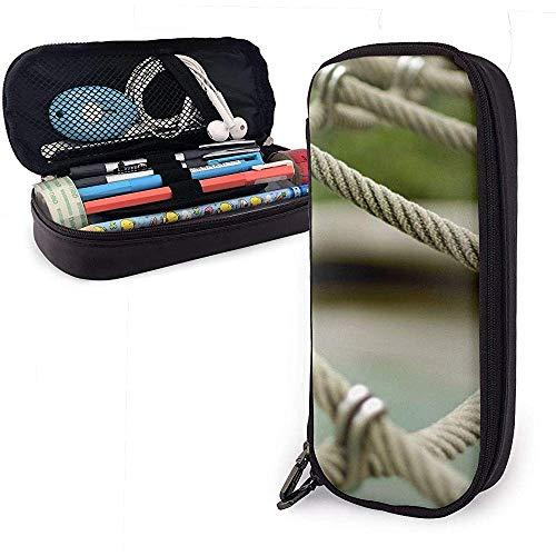 Federmäppchen grau Seil Zaun PU Leder Tasche Aufbewahrungstaschen tragbare Bleistift Tasche Reißverschluss Geldbörsen