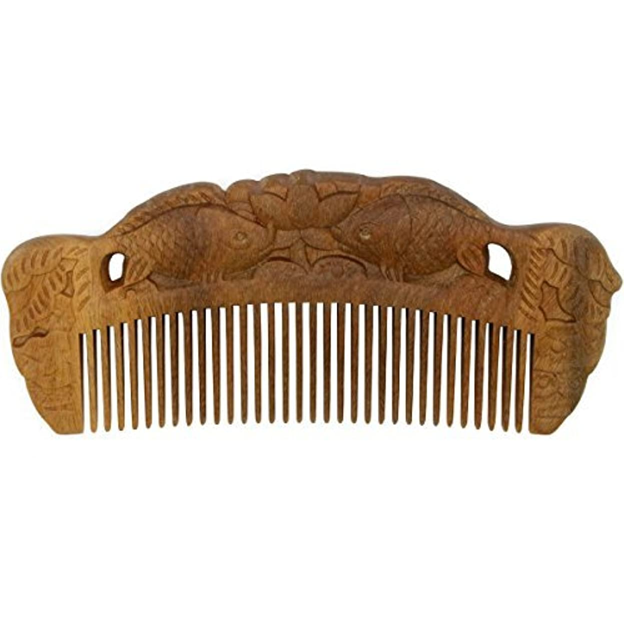 氏望ましい浸したYOY Handmade Carved Natural Sandalwood Hair Comb - Anti-static No Snag Brush for Men's Mustache Beard Care Anti Dandruff Women Girls Head Hair Accessory (HC1007) [並行輸入品]
