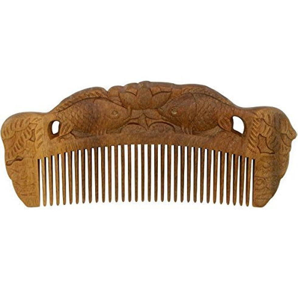 篭小屋ソーダ水YOY Handmade Carved Natural Sandalwood Hair Comb - Anti-static No Snag Brush for Men's Mustache Beard Care Anti Dandruff Women Girls Head Hair Accessory (HC1007) [並行輸入品]
