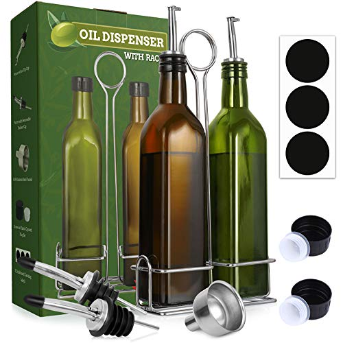 Aozita 17oz Olive Oil Dispenser Bottle Set with Stainless Steel Holder Rack - 500ml Glass Oil & Vinegar Cruet with No-drip Pourers, Funnel, and Labels - Dark Green & Brown