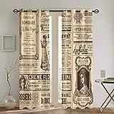 MAYUES Cortinas Opacas Francés Pegatinas PNG Vintage,con Aislamiento térmico,2 Panel 130cmX180cm