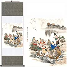 MODEBESO(TM) Silk Chinese Painting The Eight Immortals Crossing the Sea Home Decorate Calligraphy Scroll Hanging Art Gift 156 (H40