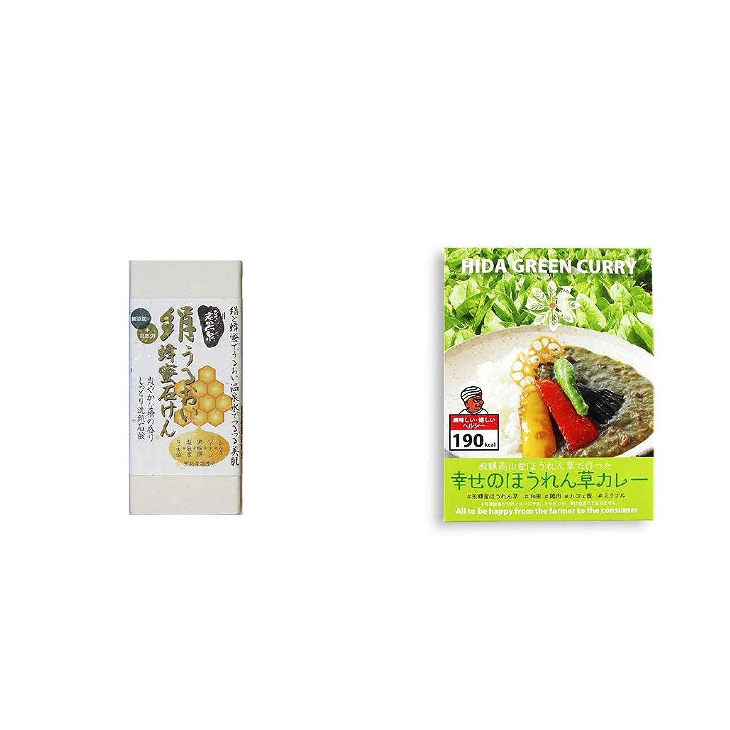 方法論ラッシュ子豚[2点セット] ひのき炭黒泉 絹うるおい蜂蜜石けん(75g×2)?飛騨産 幸せのほうれん草カレー(180g)