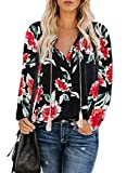 Actloe Women Floral Printed V Neck Drawstring Shirts Long Sleeve Casual Peasant Tops Multicolor Maternity Blouses Floral-2 X-Large