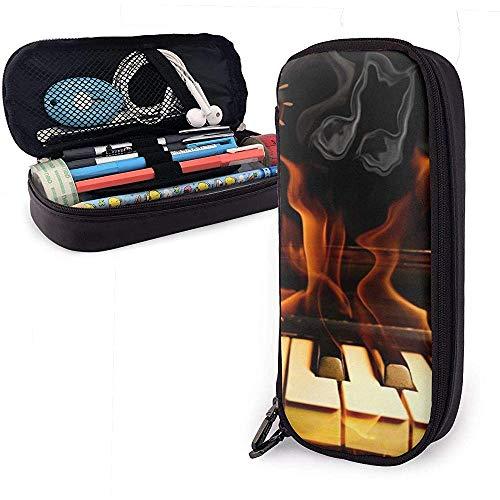 Piano On Fire Leuke Pen Pencil Case Lederen Buidelzak Pencil Case met Dubbele Rits Houder Box voor Meisjes Jongens Volwassenen